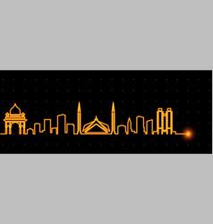 Islamabad light streak skyline vector