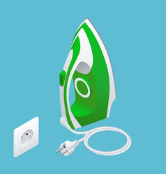 Isometric steam iron and power socket on blue vector