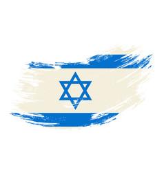 israeli flag grunge brush background vector image