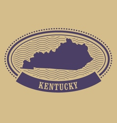 Kentucky map silhouette - oval stamp vector