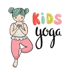 Kid yoga logo Gymnastics for children Healthy vector image