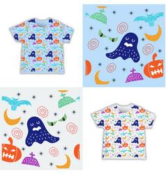 Kids childish halloween seamless pattern vector