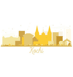Kochi city skyline silhouette in gold color vector