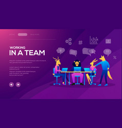 landing page template of seo analytics team vector image