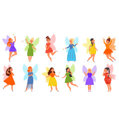 little fairy collection kids fairies in dress vector image