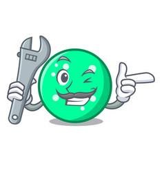 mechanic circle mascot cartoon style vector image