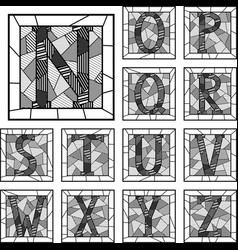 Mosaic capital letters alphabet patterned lines vector