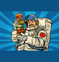 Mustachioed astronaut with giant burger vector
