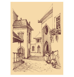 Old city hand drawing small street and motor vector