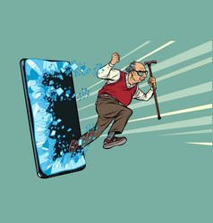 old man retired grandfather phone gadget vector image