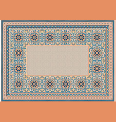 Oriental carpet with gently orange and blue tones vector