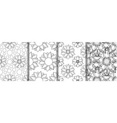 outline lotus seamless pattern set repeat vector image