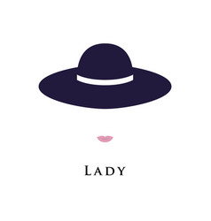 Portrait of a lady in a beautiful hat vector