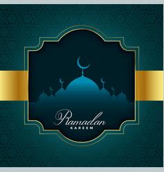 Ramadan kareem in golden style vector