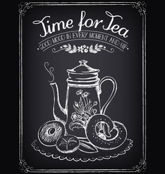 retro time for tea with teapot and bakery vector image