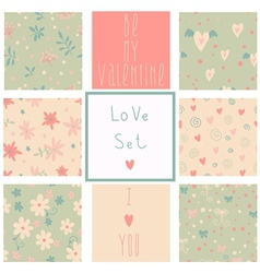 Romantic seamless patterns vector image
