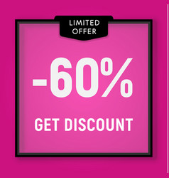 Sale 60 percent off get discount website button vector