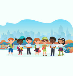 schoolchildren pupils cute kids flat vector image