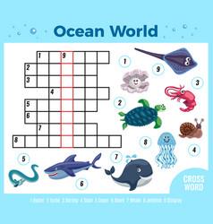 sea animals crossword composition vector image
