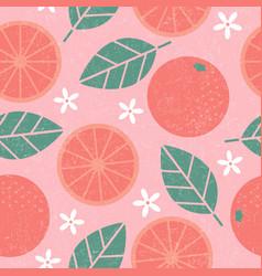 Seamless pattern grapefruit leaves fruits vector