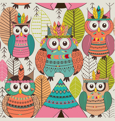 Seamless pattern with tribal owls vector