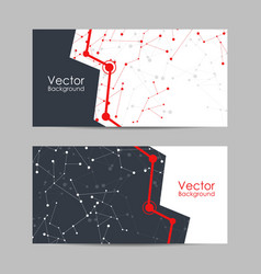 set banners with connected lines and dots vector image