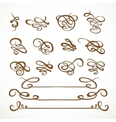 Set calligraphic symmetrical and asymmetrical vector image