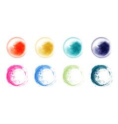 set hand drawn splash bright watercolor vector image