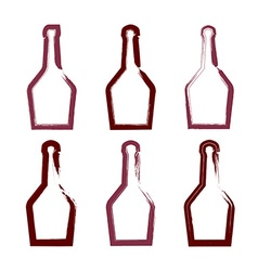 Set of hand-drawn simple empty bottle of rum vector image