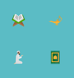 set of holiday icons flat style symbols with namaz vector image