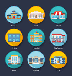 Set of modern colorful flat buildings icons vector