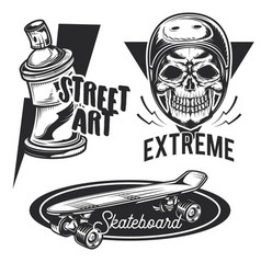 Set street activities emblems labels vector