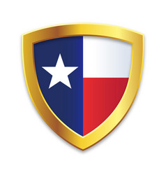 shield gold edge with texas tx state flag vector image