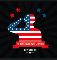Soldier honoring in day veterans vector