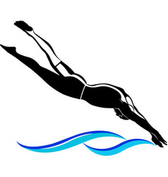 swimmer athlete sports logo vector image