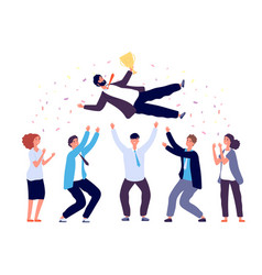 team tossing man in air business people group vector image