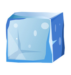 Transparent ice cube with uneven edges isolated vector