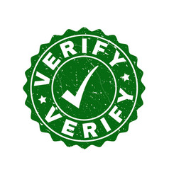 Verify grunge stamp with tick vector