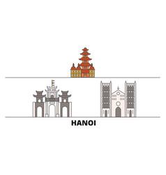 Vietnam hanoi flat landmarks vector