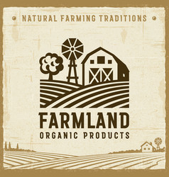 Vintage farmland label vector