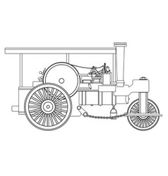 Vintage steam roller outline vector