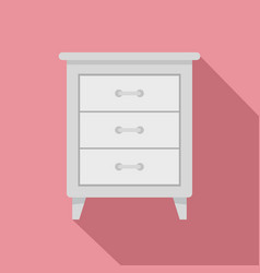 white nightstand icon flat style vector image