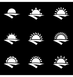 white sunrise icon set vector image vector image