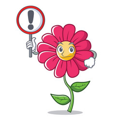 with sign pink flower character cartoon vector image