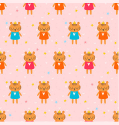 Cute seamless pattern with little tigers children vector