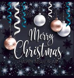 festive black banner merry christmas greetings vector image vector image
