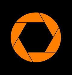 photo sign orange icon on black vector image