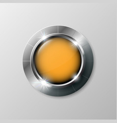silver shiny modern element orange button for vector image