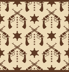 western seamless pattern with colts and sheriff vector image vector image