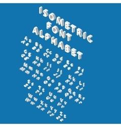 White isometric font alphabet vector image